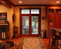 15 lite maple exterior French door with six light transom