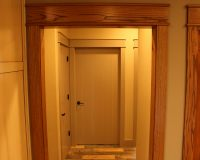 Custom pine French doors with red oak casing